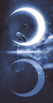 Фото Мальчик с посохом сидит на Луне, ву FOX 00