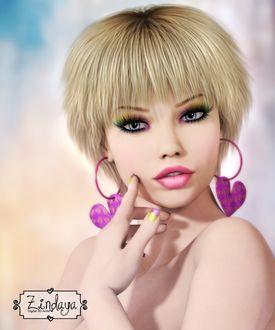 Фото Девушка с голубыми глазами и розовой помадой на губах, с серьгами в форме сердечек, DesignsByNorella