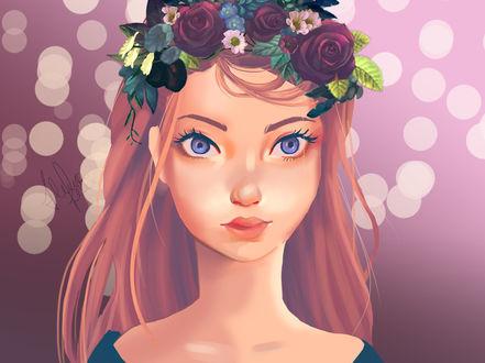 Фото Девушка с голубыми глазами в веночке из роз и ромашек, by Alexiafelix