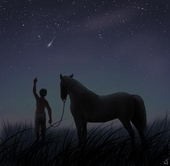 Фото Мальчик с лошадью стоит на фоне звездного неба