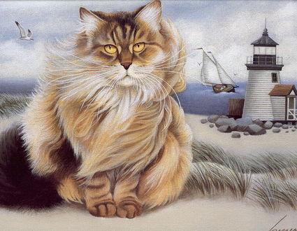 Фото Пушистый кот с янтарными глазами на фоне морского пейзажа с маяком