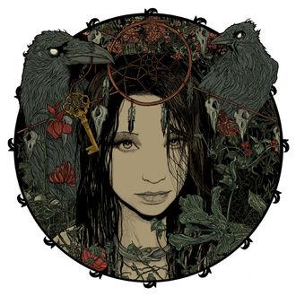 Фото Темноволосая девушка с зеленой змеей на шеи, заключена в круг, возле которого два черных ворона с черепами и красными цветами на белом фоне / by Philipp Banken