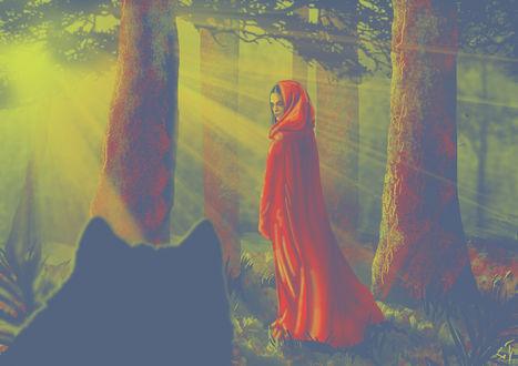 Фото Волк смотрит на девушку в красном плаще