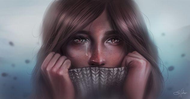 Фото Девушка со слезой на лице, by Sandramalie