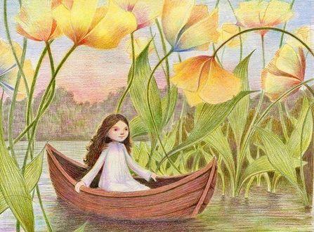 Фото Девочка плывет в лодке по реке среди огромных желтых цветов