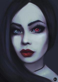 Фото Темноволосая девушка с разноцветными глазами на темном фоне / by Liza Van Rees