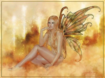Фото Девушка ангел с длинными волосами и красивыми глазами сидит на облаках