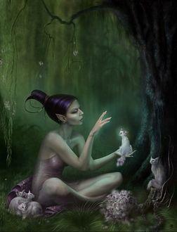 Фото Девушка-эльф в сказочном лесу с кошками