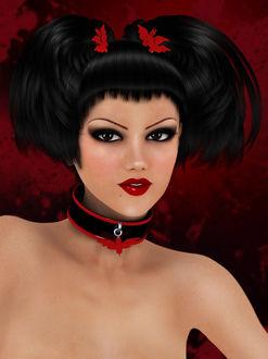 Фото Гламурная девушка с черными глазами с заколками в волосах в виде летучих мышей с яркой помадой на губах / by igolochka/