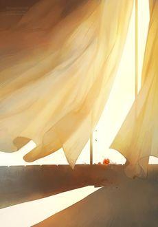 Фото Окно. Падает яркий солнечный свет, занавески развиваются под порывом сильного ветра, на подоконнике одиноко лежит букет красных цветов