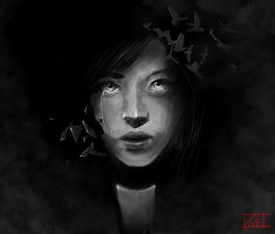 Фото Темноволосая девушка на темном фоне / by smojojo