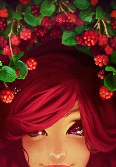 Фото Рыжеволосая девушка на фоне красных ягод и зеленых листьев / by Megane