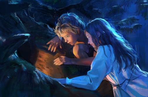 Фото Мальчик с девочкой увидели что -то волшебное, ву Monable