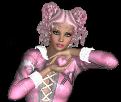 Фото Милая гламурная девушка с голубыми глазами держит в руке розовое сердечко / by Monro-Designs/