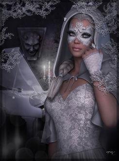 Фото Девушка в белом наряде с грустными глазами на фоне белой рояли свечей и изображения черта на стене / by Tamikotakara/