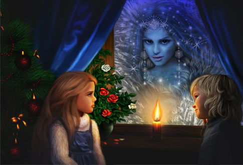 Фото Кай и Герда сидят у окна при свече на фоне роз и новогодней елки, а из окна на них смотрит снежная королева / by lilok-lilok/
