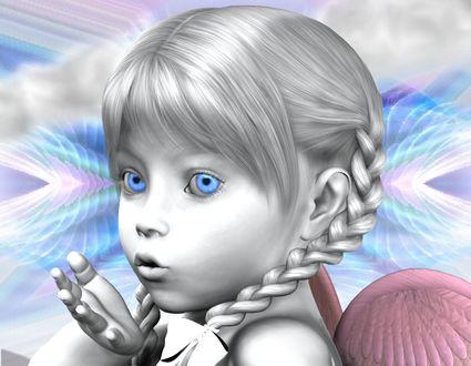 Фото Милая девочка-ангел с голубыми глазами / by BrokenWings3D/