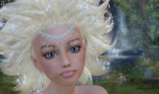 Фото Белокурая девочка с красивыми глазами с украшением на лбу / by BrokenWings3D/