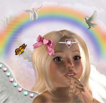 Фото Девочка ангел с украшением в виде сердечек на фоне бабочек и голубей / by BrokenWings3D/