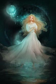 Фото Светловолосая девушка в белом длинном платье стоит в воде, by Jennyeight