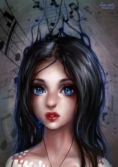 Фото Темноволосая девушка в наушниках, by Junica-Hots