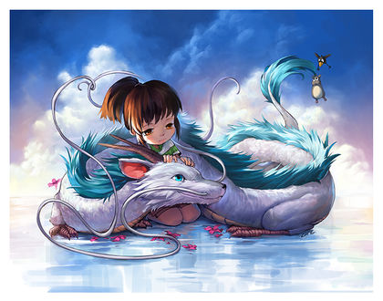 Фото Тихиро / Chihiro и Хаку / Haku из аниме Унесенные Призраками / Spirited Away, by Camilladerrico