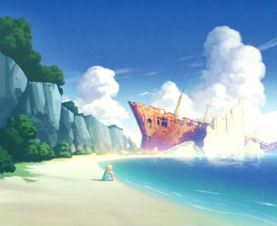 Фото Одинокая девочка на морском берегу, сбоку от нее виден корабль, потерпевший крушение