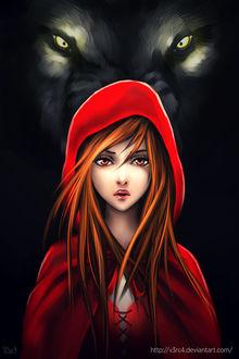 Фото Красная Шапочка / Red Riding Hood на фоне серого волка, by V3rc4