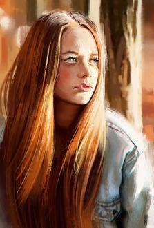 Фото Рыжеволосая девушка в джинсовой куртке смотрит в сторону на фоне деревьев, by ElbenherzArt
