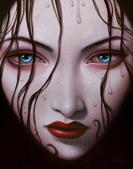 Фото Лицо темноволосой, голубоглазой девушки, крупным планом, by Сара Joncas