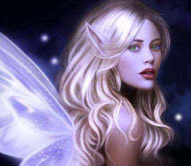 Фото Девушка-эльф с голубыми глазами на фоне ночного неба / by Charlynd/