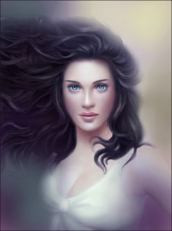 Фото Красивая голубоглазая девушка с развивающимися волосами / by Charlynd/
