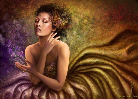 Фото Девушка с закрытыми глазами с цветами в волосах / by Celtran/