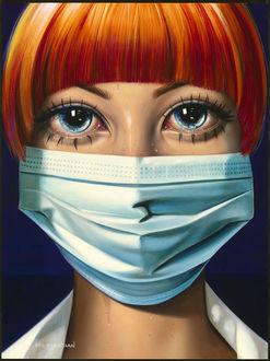 Фото Рыжеволосая и голубоглазая девушка в медицинской маске на лице, by Sas Christian