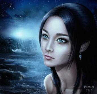 Фото Грустная милая девушка с темными волосами и голубыми глазами, на фоне реки и ночного неба, by Esmira