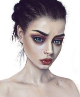 Фото Темноволосая девушка с голубыми глазами и пирсингом в носу на белом фоне, by ElenaSai