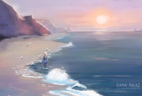 Фото Девочка стоит на побережье, by DamaiMikaz