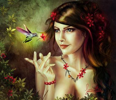 Фото Голубоглазая красавица с цветами в волосах в лесу с птичкой