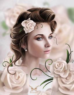 Фото Красивая девушка с розой в волосах и сережками в ушах, by MariamMohammed