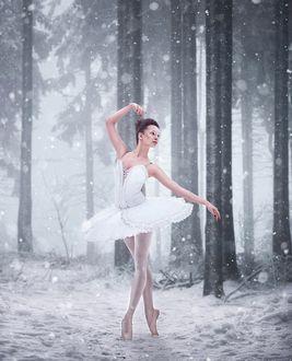 Фото Балерина в окружении заснеженного леса, фотограф Егор Андрущенко