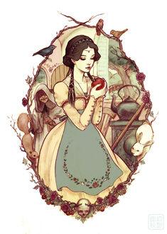 Фото Snow White / Белоснежка держит красное яблоко в руках, за спиной которой стоит старуха, by Jasmin Darnell