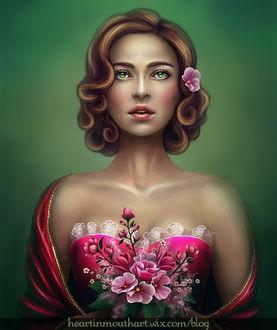 Фото Девушка с зелеными глазами с цветами в волосах держит в руках букет / by Heart-In-Mouth/