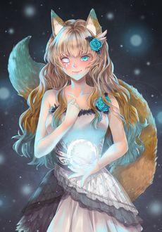 Фото Девушка-лиса с магическим шаром в руке, by Mmidori31