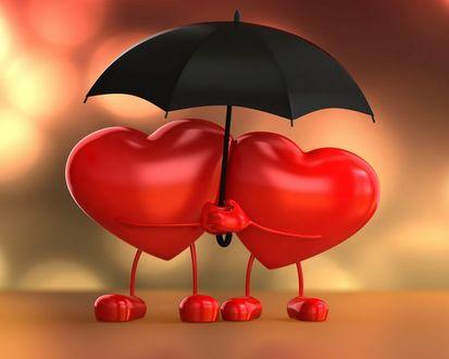 Фото Два сердечка под зонтом