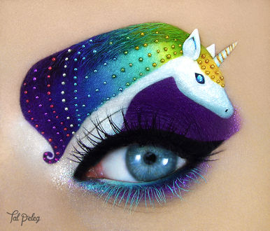 Фото Глаз девушки с макияжем единорога, by scarlet-moon1
