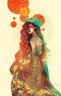 Фото Девушка в татуировках и леопард, by kaiser-mony
