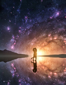 Фото Влюбленные стоят на воде, на фоне звездного неба, by pipper-SVK