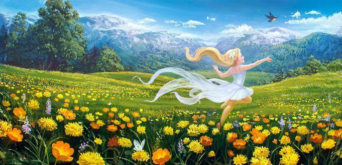 Фото Девочка в поле с цветами, by sswanderer