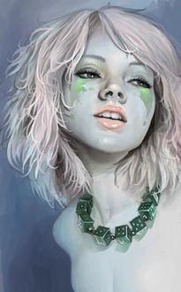 Фото Девушка с розовыми волосами с зеленой краской на лице и зелеными кубиками в виде ожирелая вокруг шеи, by molybdenumgp03