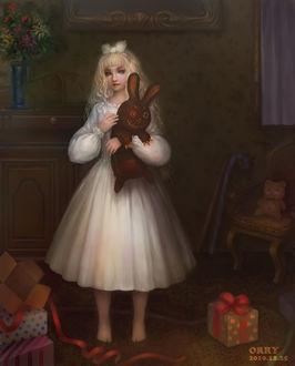 Фото Белокурая девочка с жутким плюшевым кроликом, by orryLEE
